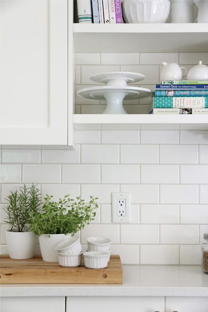 Kitchen remodel with white subway tile backsplash