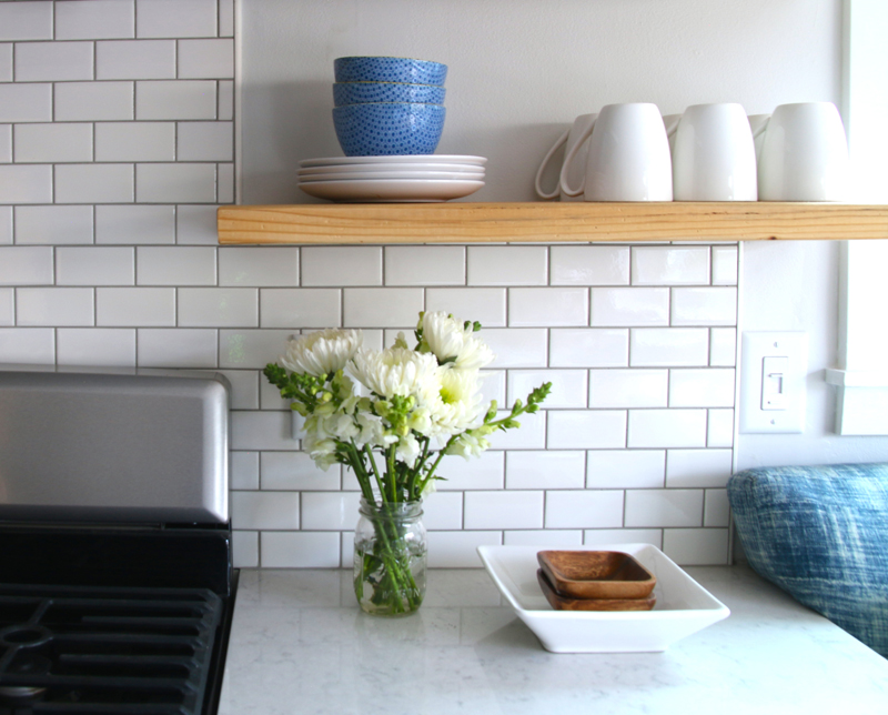 white mosaic subway tile