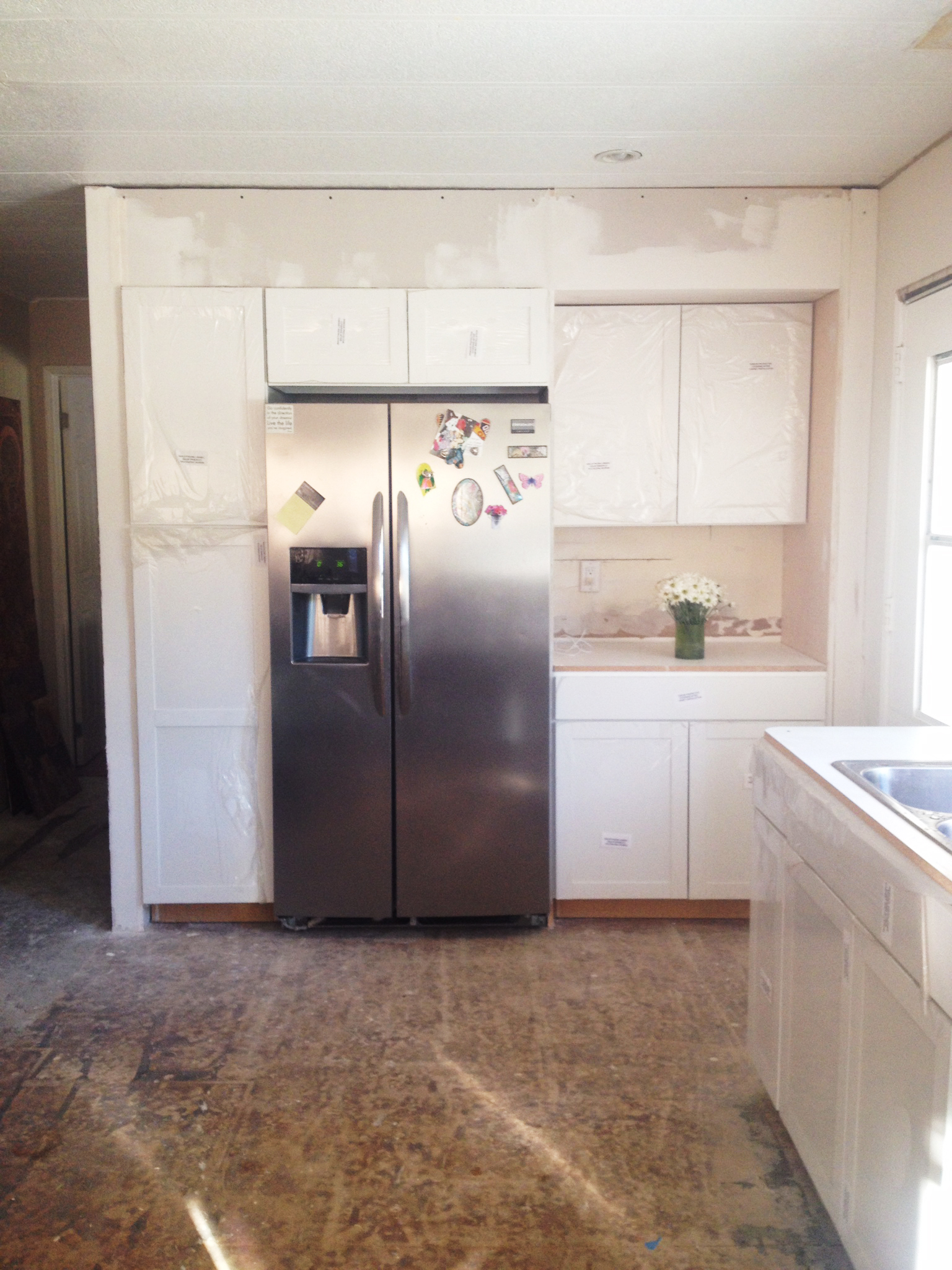 Built-in fridge flush with cabinets