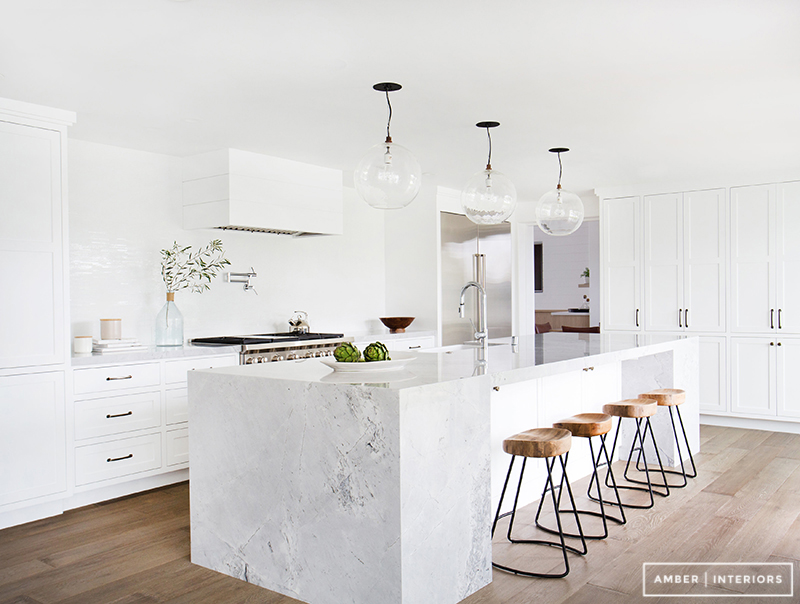 All White Kitchen With Marble Island photo - 5