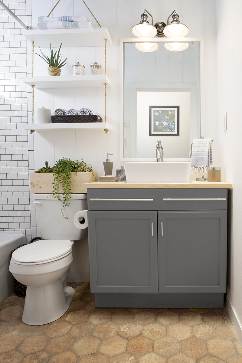A builder grade bathroom transformation with lowe s - How to layout a bathroom remodel ...