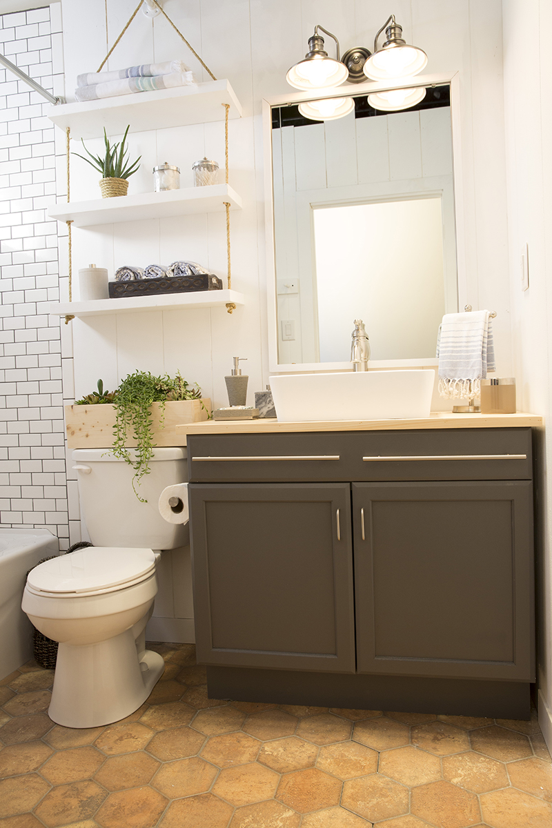 A Builder Grade Bathroom Transformation With Lowe S Amber Interiors