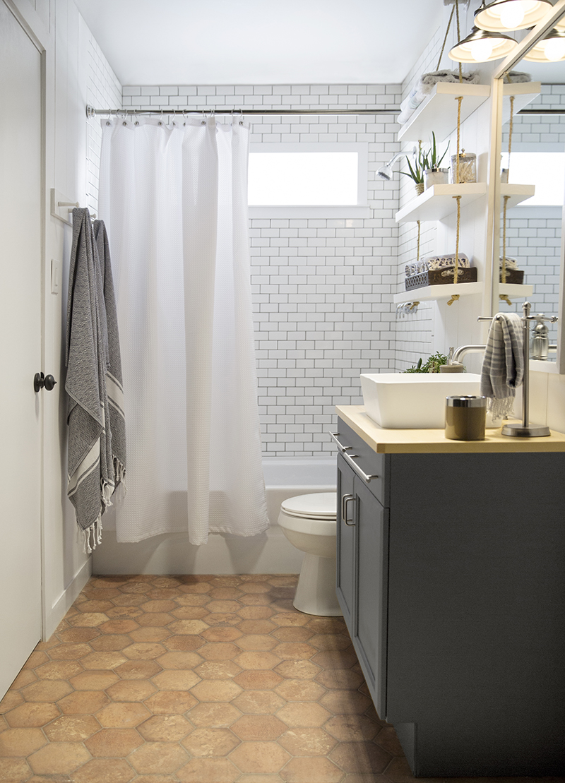 a builder grade bathroom transformation with Lowe\'s – Amber Interiors