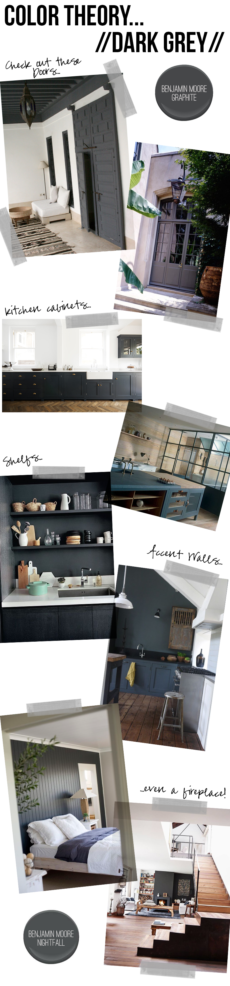 Color theory dark grey amber interiors